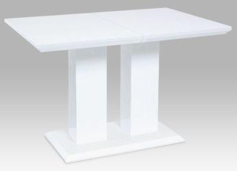 designový rozkládací jídelní stůl v bílém lesku