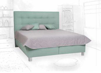 krasná postel s vysokým čelem Ramona
