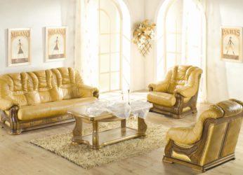 rustikální kožená sedačka se šuplíky Cheverny