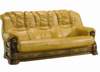rustikální kožená sedačka se šuplíky Cheverny trojsed
