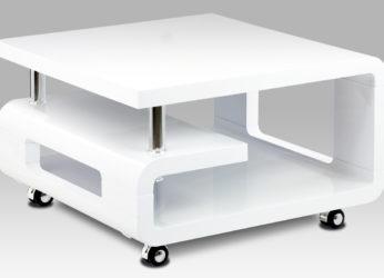 Malý stolek s oblými tvary v bílém lesku AHG-616 wt