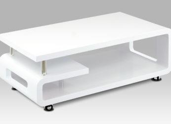 Moderní stolek s oblými tvary v bílém lesku AHG-617 WT